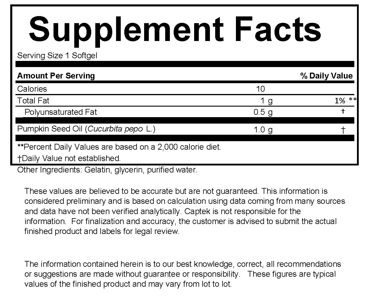 Pumpkin Seed Oil 1000 mg Supplement facts